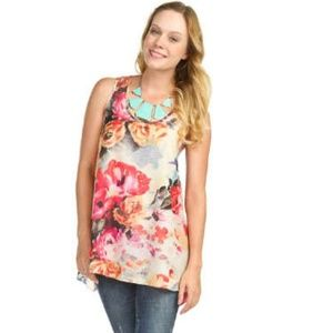 NWT Papillon floral print race back tank top